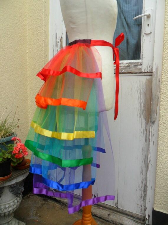 LGBT Rainbow Burlesque Net Bustle 1ic81