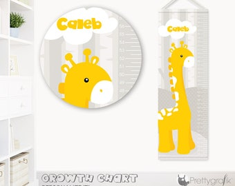 SALE Modern giraffe Growth Chart, personalized Growth Chart,Kids Room decor, custom wall hanging, custom Growth Chart for children - GC149