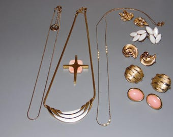 Mixed Lot of Vintage Trifari Jewelry Necklaces, Earrings, Clip on Huge Jewelry Lot Great Condition.