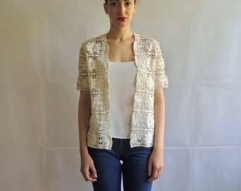 Vintage Thick Lace Short Sleeve Vest