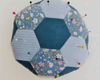 Hexagon Pin Cushion // Pins and Needles // Patchwork Pincushion // Blue Pink Pin Cushion // Hexagons