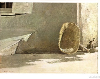 Monday Morning and Night Lamp are large prints painted by Andrew Wyeth. The page is approx. 16 1/2 inches wide and 13 inches tall.