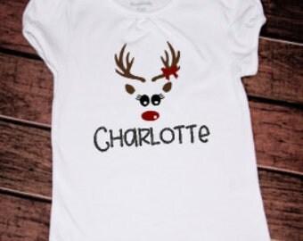Christmas Reindeer Shirt, Kids Personalized Christmas shirt