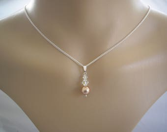 Handmade to order Pendant Necklace made with Swarovski 8mm Pearl and 4&6mm Crystals on a fine silver plated chain