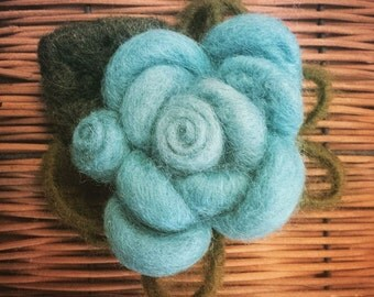 Brooch made of carded wool by hand, handmade wool rose brooch