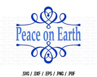 Peace on Earth Christmas Clipart, Winter Christmas Wall Art, SVG File for Vinyl Cutters, Screen Printing, Silhouette, Die Cut Machine CA402