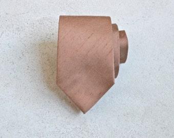 Rose Gold Bronze Raw Silk Skinny Tie