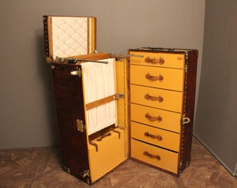 Extra Large Louis Vuitton All Leather Wardrobe Steamer Trunk,Coffee Table