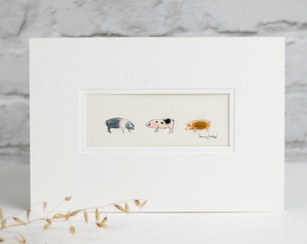 Print, 3 fluffy rare breed pigs hand finished with wool