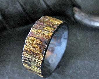 Size 12-1/2 Rustic Mens Wedding Band Bark Ring Mens Wedding Ring Unique Mens Wedding Band Viking Wedding Ring Mens Wedding Bands Black Gold