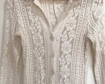 Vintage 70s cream lace maxi overshirt small