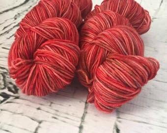 Speckled sock yarn superwash merino, nylon, Champ de tomates, hand dyed