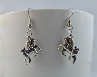 Unicorn Earrings - Unicorn Charm Earrings - Mythological Jewelry
