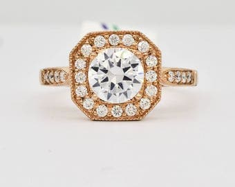 18K Rose Gold and Diamond Semi Mount Engagement Ring 3.4 grams