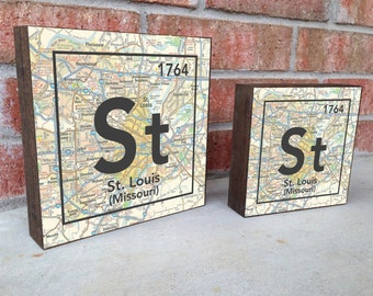 St. Louis Missouri St Vintage Periodic Map ART BLOCK print on Wooden Canvas wedding Christmas housewarming gift for her wall decor