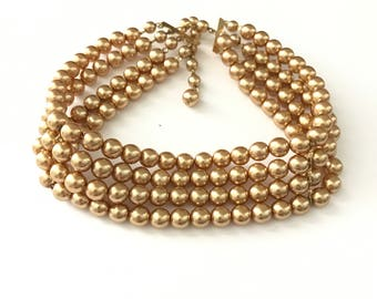 Vintage Multi Strand Pearl Choker Necklace
