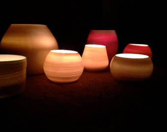 Tealight Votive Candleholder with beeswax candle - READY TO SHIP - Translucent Porcelain by Alison Ostergaard