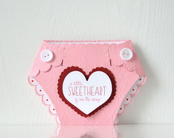 Sweetheart Baby Shower Diaper Invitations: mommy to be, parents to be, baby sprinkle, pink red, cupid, valentines, love, pink diaper-LRD025B