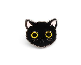 Black Cat Face enamel pin (cute cat pin hard enamel cat pin lapel pin badge kitten pin black cat pin cat lady personalized cat lover gift)