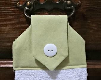 Sea Green, sage green hanging hand towel, kitchen towel, decorative towel