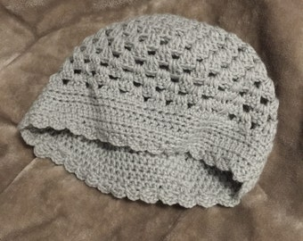 Slouchy Smoke Grey Knitted Winter Hat