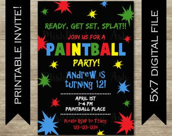 Paintball Party Invitations, Paintball Invitation, Paintball Birthday Invitation, Birthday Boy Invitation, Birthday Girl Invitation
