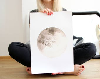Moon collection - Lunar poster #3 - Watercolor Art