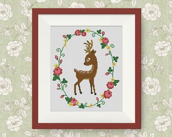 BUY 2, GET 1 FREE! Deer Floral Wreath Cross Stitch Pattern, pdf counted cross stitch pattern, Deer silhouette, Modern cross stitch, #P269