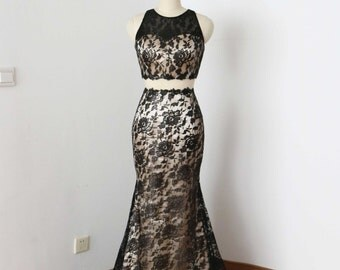 Two Piece Mermaid Black Lace Champagne Lining Long Prom Dress 2017
