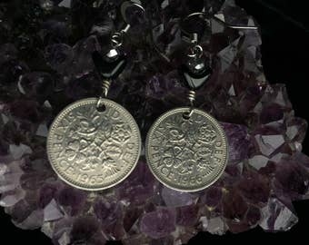 Coin Jewelry-Vintage silver British six pence coin and black glass arch bead earrings-one of a kind good luck wedding gift under 25