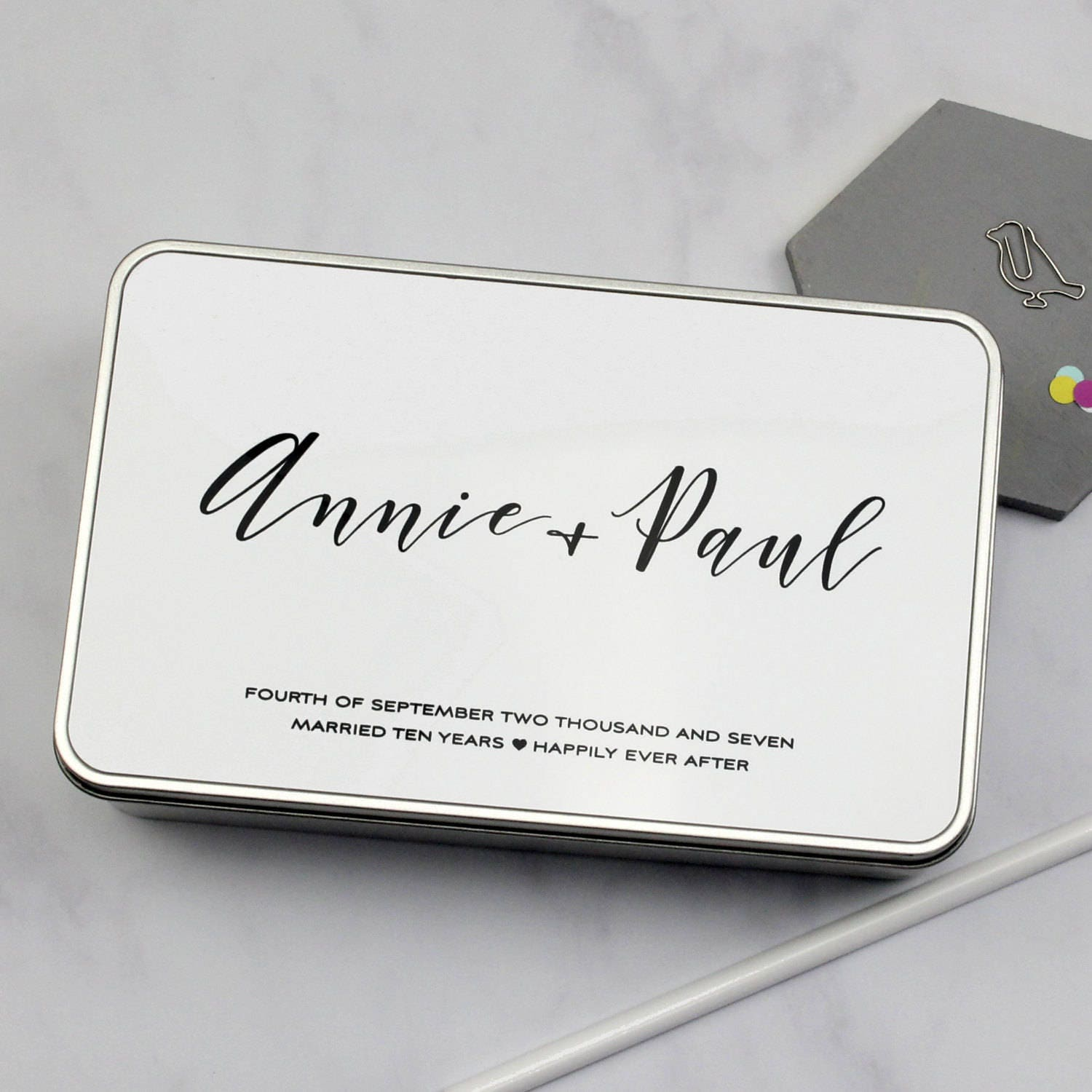 Description This Personalised Storage Tin Is A Perfectly Practical Present For Tenth Wedding Anniversary