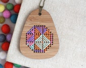Psychedelic / Bamboo Embroidered Necklace Kit / Modern Embroidery Kit / DIY Wearable Weaving Kit