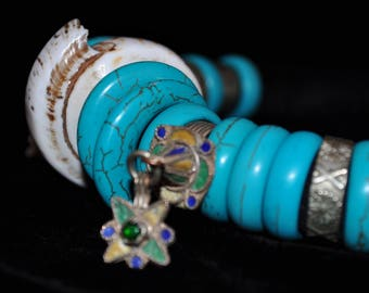 FREE SHIPPING. Handmade necklace. Turquoise natural stone beads. Antique shell and metal ring pendant. Ethnic.