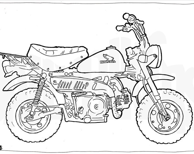 Honda Z50 Minibike Colouring Page - Motorcycle Illustration - Motorcycle Coloring