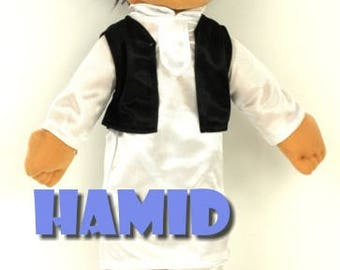 My Little Muslim Brother. Handmade Muslim Doll for boys in Islamic traditional dress . Each doll is individually hand made.
