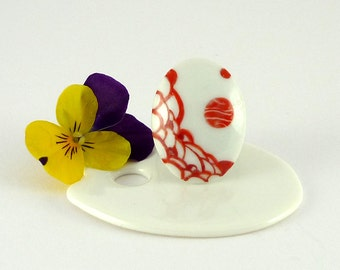 Porcelain Ring,Ceramic Ring,Red Ring,Porcelain Jewelry,Bague Marquise en Porcelaine,Knots Decor,Jewelry