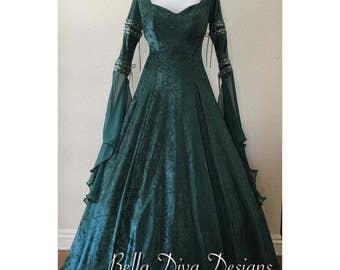 Custom, Hand Made to Order. 'Samantha' Medieval Dress, Fantasy Dress, Renaissance Dress, Wedding Dress