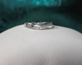 14K White Gold Diamond Band Made to Fit Into Ring
