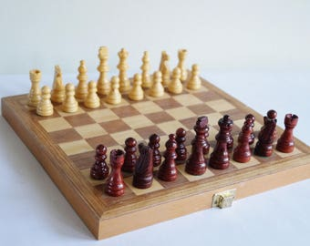 Chess Set Chess Board with Wooden Pieces Chess Pieces Vintage Chess Original Chess