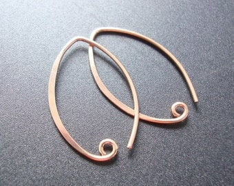 2, 4, 6 pairs, 26x15mm, 19 Gauge Wire, Artisan Rose Gold vermeil Sterling Silver Leaf Hammered Ear wires, EW-0016S