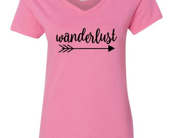 Wanderlust Womens Short Sleeve V Neck T - Shirt Top