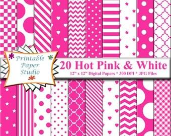 Hot Pink Digital Paper Pack, Bright Pink Digital Scrapbook Paper, Pink Colored Paper for Scrap booking, Instant Download, Digital File