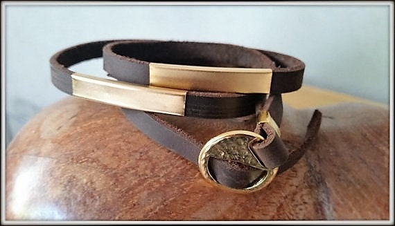 Leather Gold Bracelet, Gold Leather Wristband, Mens Cuff Bracelet, Adjustable Leather Cuff, Unisex Cuff Bracelet, Unisex Wrap Bracelet