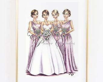 Custom Bridal Illustration with 4 People - Ink and Coloured Pencil Illustration
