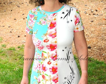 Asymmetrical handmade floral tunic, colorful jersey ruffled t-shirt dress, mint pink off white artsy patchwork tunic dress, short sleeve top