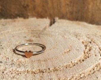 Sterling Silver Ring with Copper Heart