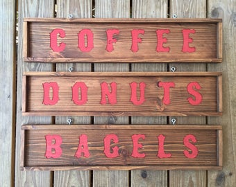 Custom Carved Sign, Coffee Sign, Donut Sign, Bagel Sign, Rustic Kitchen Signs, Custom Sign, Coffee, Donuts, Bagels