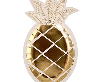 Paper Plates | Party Plates | Pineapple Plates | Gold Foil Plates | 8 Per Pack | Gold Plates