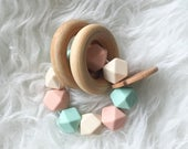 EASTER SALE Wooden Teether Natural Toys Organic Toys Baby Teether Baby Toys Beautiful Toys Wooden Toy Wooden Rattle Baby Rattle Silicone Tee