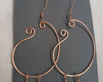 Copper hoop earrings with beads
